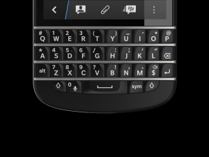 The Q10 keyboard features a wider layout, bigger sculpted keys and longer frets between rows.