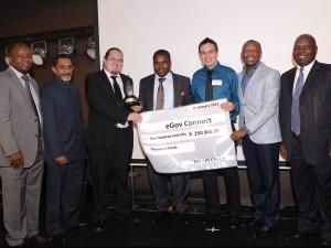 McLean Sibanda, CEO of The Innovation Hub; Younaid Waja, TIHMC Board Member; András Findt, eGov Connect winner in mobile technology; Honorable Nkosiphendule Kolisile, MEC for Gauteng Department of Economic Development; Joshua Leibstein, eGov winner in mobile technology; Dr Thele Moema, GGDA Board Member; Zeth Malele, TIHMC chairperson of the Board.
