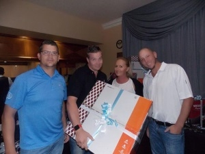 3rd place (and hitting an albatross on the first hole) the Aruba fourball: Brandon Edwards, Grant Race, Frikkie Coetzee and Thanyani Mariba. However, in the photo from left to right  - Frikkie Coetzee, Brandon Edwards, ,Lynne McCarthy, Grant Race (Thanyani Mariba absent for photo)