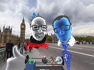 The first selfie taken in VR of two people who were physically in separate places but both 'virtually' in London.