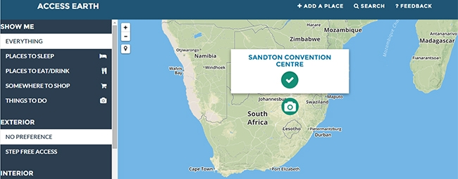 The Sandton Convention Centre is listed as an accessible location on Access Earth's interactive map.