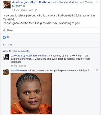 Scammers created a false Facebook account pretending to be communication minister Faith Muthambi.