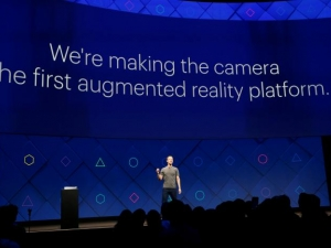 Facebook CEO Mark Zuckerberg on stage at the F8 developer conference in California.