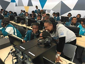 Youth receive skills training at a Nokia centre.