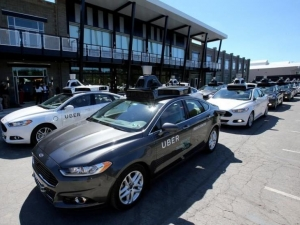 A fleet of Uber's Ford Fusion self-driving cars.