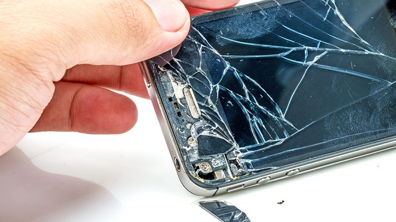 With weFix, a customer takes the cracked screen in, and it gets checked in and repaired.