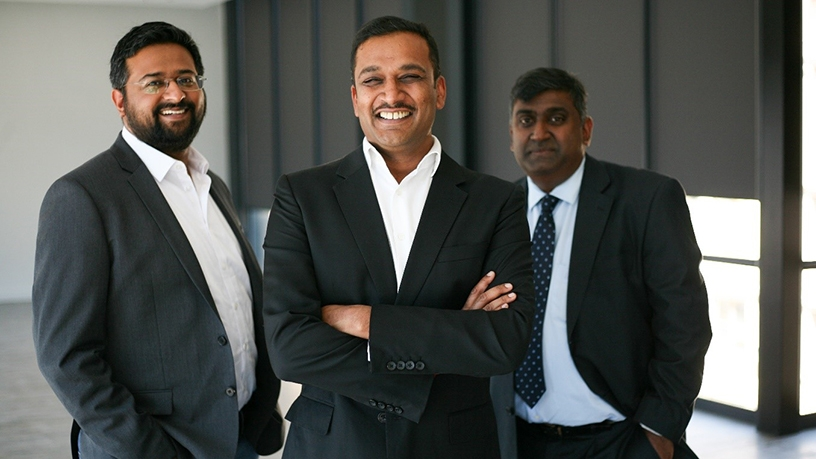 The Fo-Sho Founding Team, from left to right: Mithun Kalan, CEO Avi Naidoo and Siva Moodley.