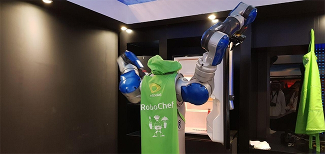 Robots can be programmed to make food and clean up after themselves faster than humans.