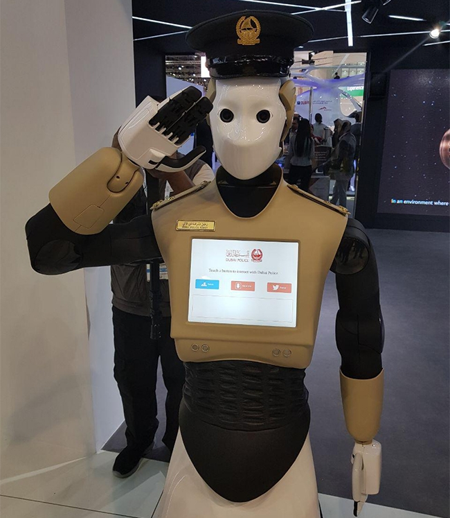 Dubai may supplement its police force with robots, although it is not yet clear if they will arrest offenders, or record evidence of the offence.
