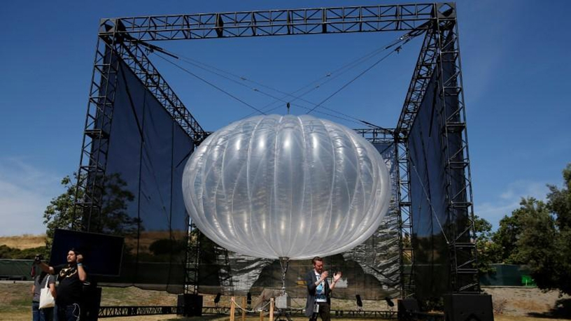 An Internet balloon being prepared for take-off.