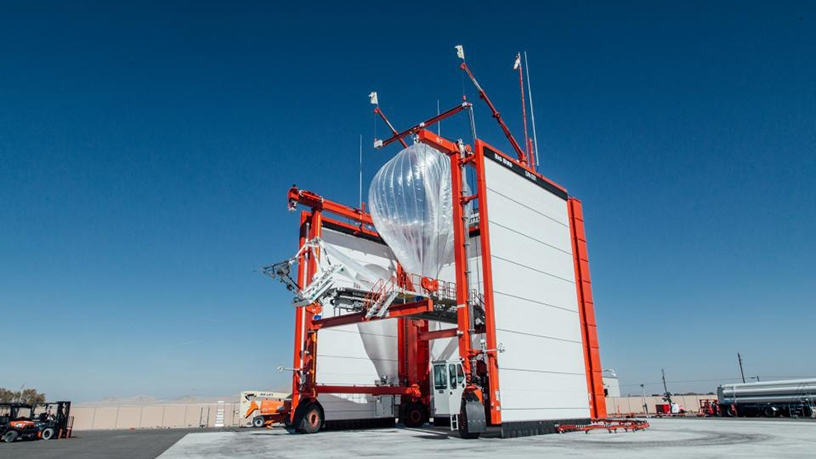 A Project Loon balloon being launched.