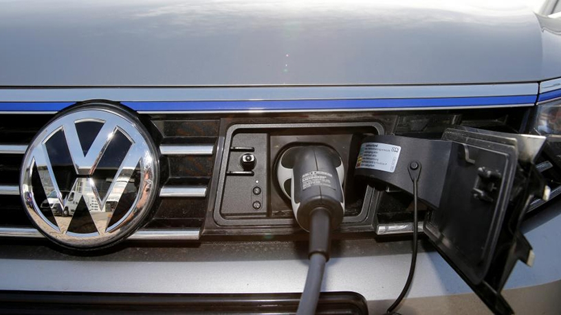 The charging plug of an electric Volkswagen Passat.