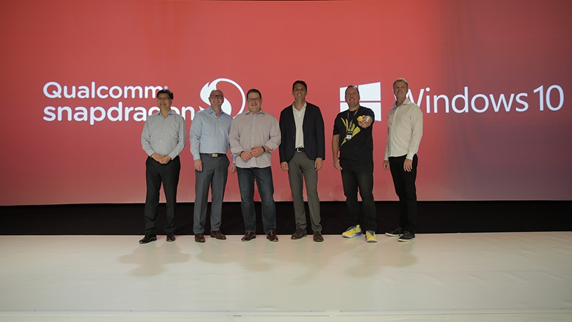Cristiano Amon, executive VP of Qualcomm, was joined on stage by senior executives from Microsoft, Asus, Sprint, HP and AMD.