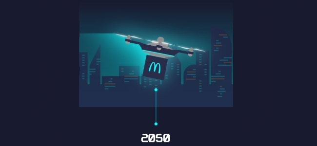 Takeaway food will be delivered via drones from 2050.