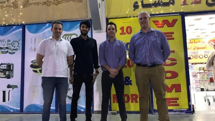 Project team at go-live: f.l.t.r. Anoosh Mourad (Owner, Sepia), Hamdan (Al Khaleej) , Paul Gleed (Business Development Manager, Arch) & Karl van Niekerk (Business Analyst, Arch).